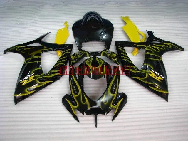 7geschenke !! Verkleidungsset für SUZUKI GSXR600 750 2006 2007 GSXR 600 GSXR 750 K6 06 07 GSX-R600 gelb Flammen schwarz Verkleidungsset Sp36