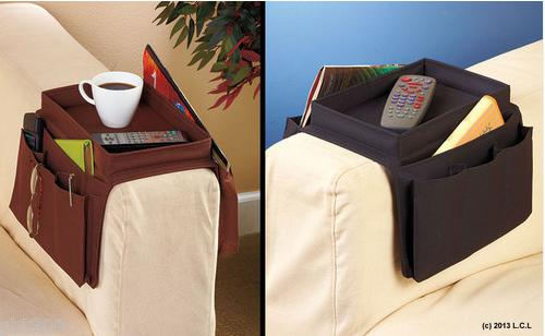 Vendita all'ingrosso Arm Rest Holder Organizer Remote Control Pocket Sofa Caddy 6 Slots Snack Tray Top