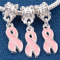 pulsera de cáncer de mama cuentas europeas al por mayor-El encanto rosado de la conciencia de la cinta del cáncer de pecho del esmalte 100pcs cuelga la pulsera europea apta del grano