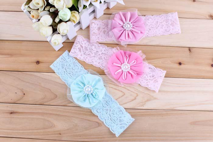 Baby Headbands Girl Net Yarn Flower hairbands Children Hair Accessories Pearl Flower Hair Ornaments Headbands Christmas Gift Wholesale