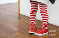 Wholesale Red Stripe Leggings - 5 pcs lot Hot selling!!! Autumn of 2013 children between black and white stripes head girl Leggings children wear