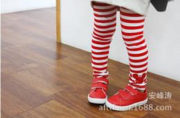 Wholesale Red Stripe Leggings - 5 pcs lot Hot selling!!! Autumn of 2013 children between black and white stripes head girl Leggings children wear