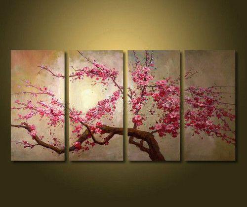 Framed 4 Panel Large Chinese Cherry Blossom Flower Oil
