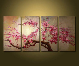 Wholesale Large Abstract Canvas - Framed 4 Panel Large Chinese Cherry Blossom Flower Oil Painting on Canvas Art Home Decoration Picture XD01635