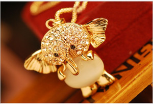 Wholesale CXL095 On sale lovely baby elephant pendant Opal inlay diamond long lady sweater chain necklaces strands strings gift