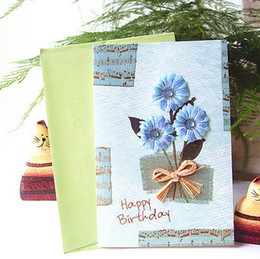 Wholesale Gift Card Sticker - Big size birthday gift card with vintage 3D flower stickers 8 patterns mixed high quality birthday greeting card with envelope