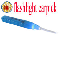 Wholesale Wholesale Earpick - Flashlight Earpick handle Health Ear Cleaner Cleaning 10pcs lot Free Shipping