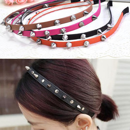 Wholesale Spike Hair Bows - Free shipping Pop Fashion Headband Bow Spike Rivets Studded Band Party Punk Unisex Hair Band #5023