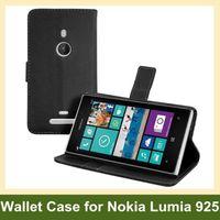 Wholesale Lumia 925 Flip - Wholesale Luxury Wallet Flip Case for Nokia Lumia 925 PU Leather Case for Nokia Lumia 925 with Folding Function Free Shipping