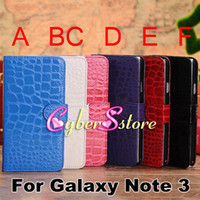 Wholesale HQ Crocodile Wallet Flip PU leather Case Cover With Credit Card Slot Slots Pouch For Samsung Galaxy Note N9000 III Note