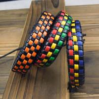 Wholesale Id Cuff - Promotion Braided Bracelet Mens and Women Surfer Cuff Ethnic tribal Braid Leather Cord Bracelet Wristband Hemp Surfer 20pcs lot