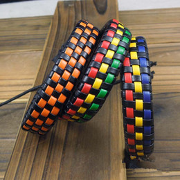 Wholesale Miao Ethnic - Promotion Braided Bracelet Mens and Women Surfer Cuff Ethnic tribal Braid Leather Cord Bracelet Wristband Hemp Surfer 20pcs lot
