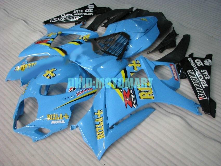ABS-Verkleidungskit für SUZUKI GSXR1000 2007 2008 GSX-R1000 GSX R1000 GSXR 1000 K7 07 08 RIZLA Blauer Verkleidungssatz + 7 Gänge Sh34