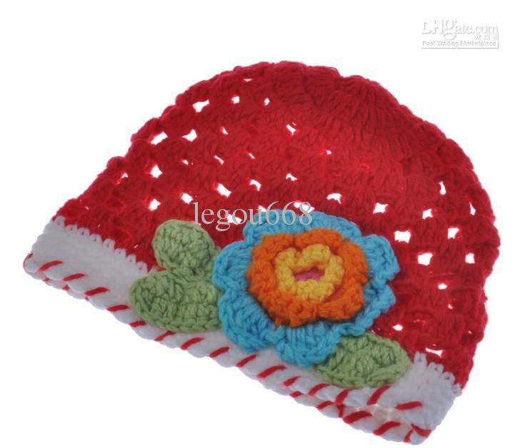 Wholesale - Handmade Knitted Baby Flower Hat Spring Crochet Girls' Hat Baby Crocheted Beanie caps HT01