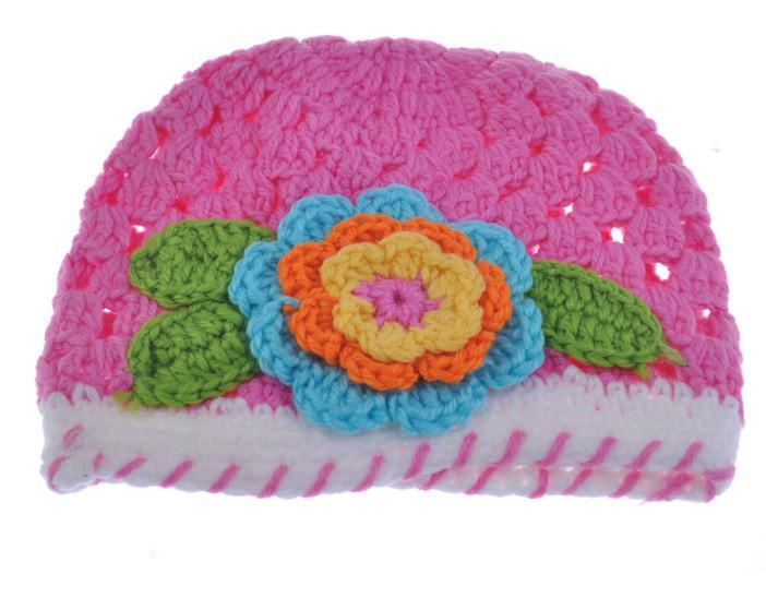 Großhandel - Handgemachte gestrickte Baby-Blumen-Hut-Frühlings-Häkelarbeit-Mädchen-Hut-Baby-Häkelarbeit-Beanie-Kappen HT01