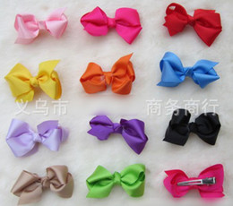 Discount hair color factory - 500pcs* 8cm Mixed 15 color factory direct low prices Grosgrain Bows Hairpin with double prong clips hairpin Bows Baby Ha