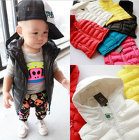 Wholesale Small Girls Down Coat - Fall Winter Children Waistcoat Down Coat Candy Color Hoodies Sleeveless Vest Baby Kids Down Jacket Small Boys Girls Coats 5pcs lot QZ36