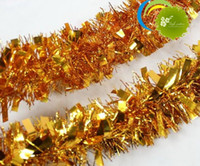 Wholesale Wholesale Christmas Tinsel - Hot sell! 10pcs 2 m Gold Color Festivals Decoration GARLAND Christmas Halloween Tinsel Color Bar