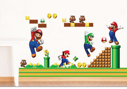 Wholesale Free Stick People - Free shipping Mix Order50*70cm High Quality A++++++ 10pcs lot Hot-sales Brand New Super Mario cartoon children's room wall stickers