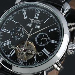 Wholesale Jaragar Mechanical Watches - 2017 new Jaragar Automatic Mechanical Tourbillion Classic Date Day Black Leather Men Sport Military Watch