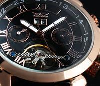 jaragar tourbillon venda por atacado-Promoção! 1 pcs Frete grátis JARAGAR Luxo Rose golden black dial Tourbillon Relógio de couro mecânico automático