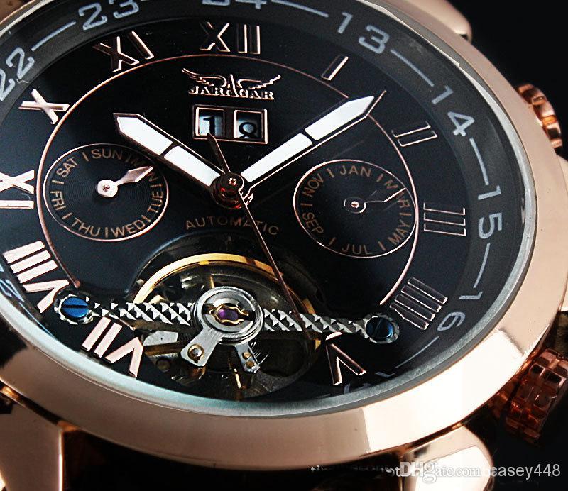 promotion!!!1pcs Free shipping JARAGAR Luxury Rose golden black dial Tourbillon Automatic mechanical Leather watch