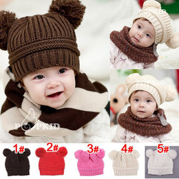 Wholesale toddler ear muffs winter - New Winter 10pcs lot Toddler Baby Dual Ball Wool knit Caps Infant Boys Girls Handmade Hats Children Cotton Caps 5Color Choose Free,for 1-6T