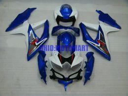 7 regalos !! Kit de carenado personalizado para SUZUKI GSXR600 750 2008 2009 GSXR 600 GSXR 750 K8 08 09 blanco azul Carenados conjunto Sw52 desde fabricantes