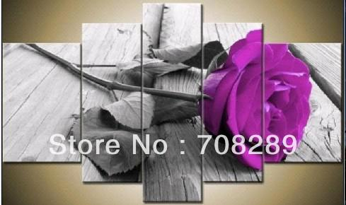 2019 Purple Rose Flowers Gray Red Color Oil Painting Modern Wall Art