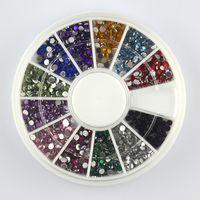 Wholesale Color Acrylic 3d Nails - New Supernova Sale 3d Nail Art Decorations Acrylic Tips 12 Color 2mm Flatback Rhinestone Decoration Manicure Wheel Nail Supplies D210