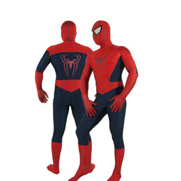 Wholesale Amazing Dress S - Free Shipping Halloween Amazing Lycra Spiderman Suit Fancy Dress Cosplay Costume