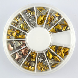 Wholesale Color Acrylic 3d Nails - New Supernova Sale 3d Nail Art Decorations Acrylic Tips Gold Color Metal Decoration Manicure Wheel Nail Supplies D214