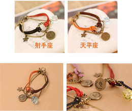 Discount zodiac chains - 2013Men Women 12 Horoscopes Constellations Bracelet anklets Charm Jewelry multilayer Bracelets Beaded leather rope Stran