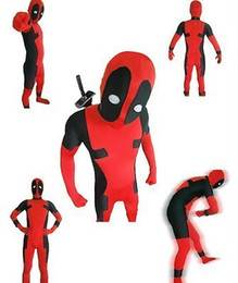 Wholesale custom made costume deadpool online – ideas NEW Hot FullBody Deadpool Superhero Costume Lycra Spandex Zentai Suit Party Fancy Dress