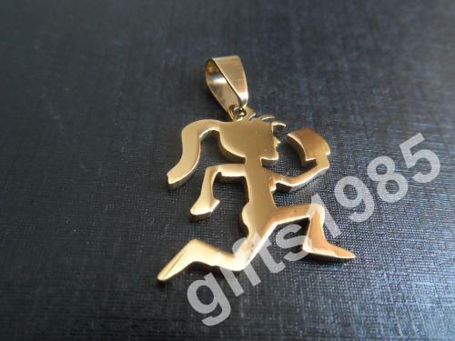 Sportliches Mädchen Anhänger vergoldet Edelstahl hatchetman Weihnachtsgeschenke Ball Halskette frei