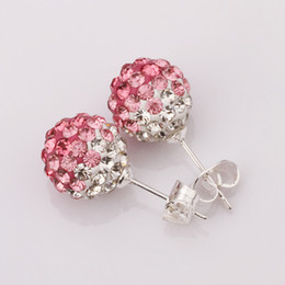 Wholesale Silver Stud Flower Earings Wholesale - 10pairs Lot mixed color wholesale 925 sterling silver Shamballa 10mm crystal ladys stud earings gift box bag free shipping