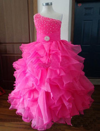 Wholesale Pink Wonderful Ball Gowns - Beauty Wonderful Ball Gown One Shoulder Pageant Dresses For Kids Ruffles Pink Flower Girl Dresses Beads Sequins Real Sample Free Shipping