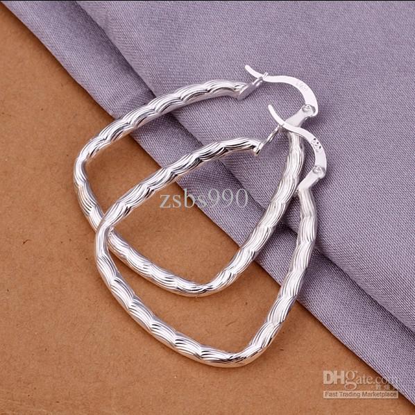 Triángulo con pendientes de aro de pescado Moda 925 joyas de plata regalos de Navidad para mujeres envío gratis 10 par / lote