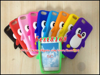 Wholesale Case Iphone C Cute - 10 color 3D penguin rokery cute soft silicone gel rubber case for iphone 5C 5 C SE 5 5S 6 6S Plus lovely animal colorful skin cover cases