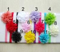Wholesale Newborn Headbands Mixed - Flower Elastic Baby Headbands Chiffon Flower Toddler Hairdress Newborn Hairbows Headdress mix color LY1