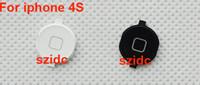 Wholesale Button Black Home 4s - New Home Button Key Cap For iPhone 4S Black White 30pcs lot Free CN HK SG Post