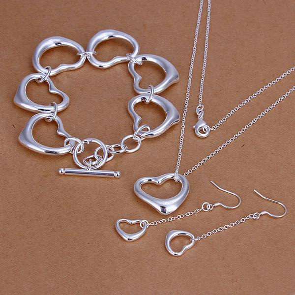 Wholesale - lowest price Christmas gift 925 Sterling Silver Fashion Necklace+Earrings set QS112