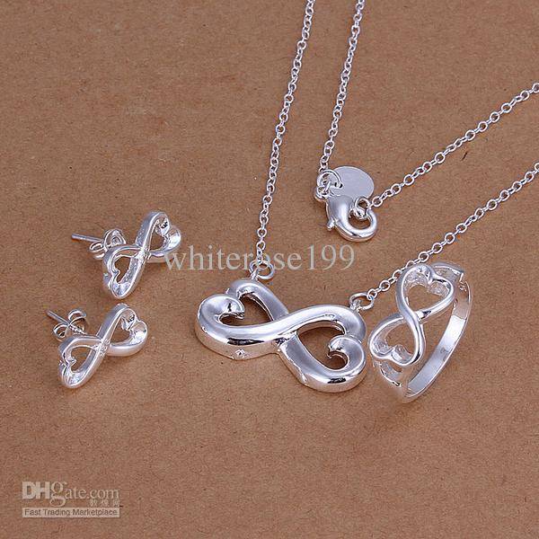Wholesale - lowest price Christmas gift 925 Sterling Silver Fashion Necklace+Earrings set QS114