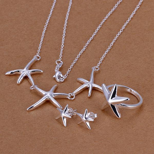 Großhandel - niedrigsten Preis Weihnachtsgeschenk 925 Sterling Silber Fashion Halskette + Ohrringe Set QS115