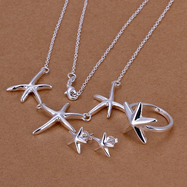 Wholesale - lowest price Christmas gift 925 Sterling Silver Fashion Necklace+Earrings set QS115