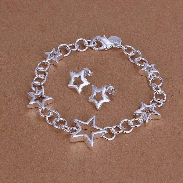 Al por mayor - precio más bajo regalo de Navidad 925 Sterling Silver Fashion Necklace + Earrings set QS117