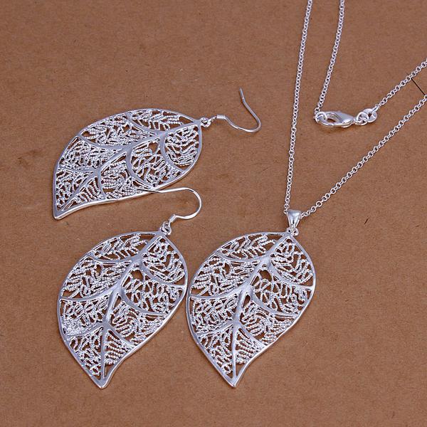 Al por mayor - precio más bajo Regalo de Navidad 925 Sterling Silver Fashion Necklace + Earrings set yS180