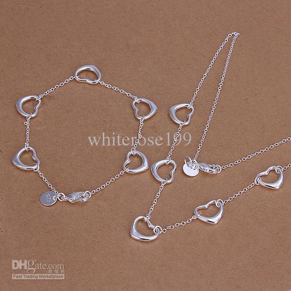 Großhandel - niedrigster Preis Weihnachtsgeschenk 925 Sterling Silber Fashion Halskette + Ohrringe Set QS123