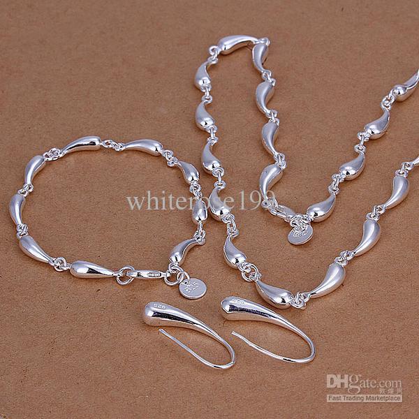 Al por mayor - precio más bajo regalo de Navidad 925 Sterling Silver Fashion Necklace + Earrings set QS125
