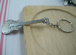 Wholesale Key Chain Guitar - Hot ! DIY Accessories Material Tibetan Silver Zinc Alloy Guitar Band Chain key Ring (003527)